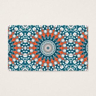 Cartão De Visitas Azuis marinhos e laranja na arte branca do