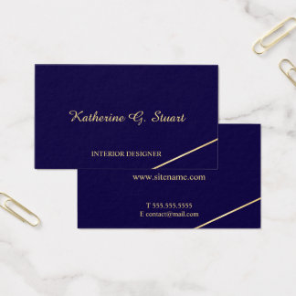 Cartão De Visitas Azuis marinhos e ouro elegantes