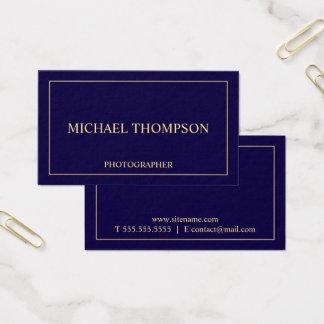 Cartão De Visitas Azuis marinhos e ouro elegantes profissionais