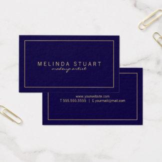 Cartão De Visitas Azuis marinhos e ouro modernos simples