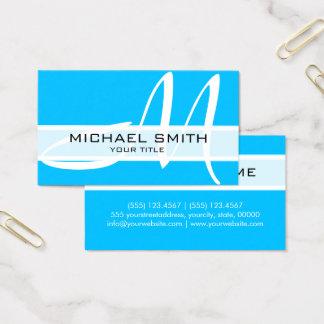 Cartão De Visitas Azul-céu modernos do monograma elegante