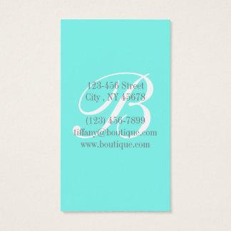 Cartão De Visitas Azul chique feminino do ovo dos robins do aqua de