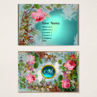 Cartão De Visitas Azul COR-DE-ROSA da cerceta da PEDRA de GEMA do