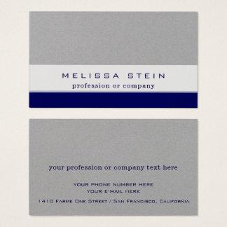 Cartão De Visitas azul da profissão ou da empresa no prêmio cinzento