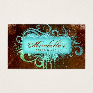 Cartão De Visitas Azul de Brown dos termas do salão de beleza do