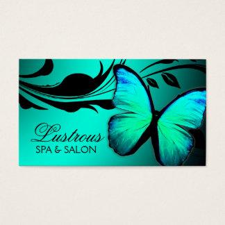 Cartão De Visitas Azul de turquesa brilhante da borboleta 311