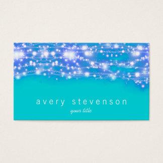 Cartão De Visitas Azul e turquesa Sparkling das estrelas festivos