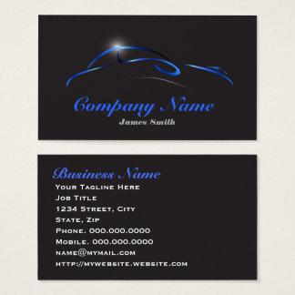 Cartão De Visitas Azul elegante estilizado na auto UE preta do