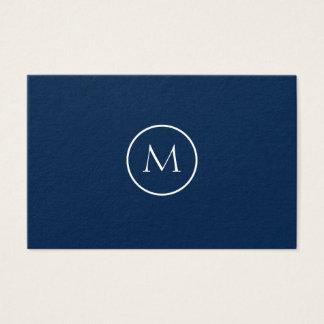 Cartão De Visitas Azul escuro elegante Monogrammed minimalista