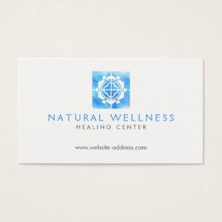 Cartão De Visitas Azul floral do logotipo do bem-estar da grade