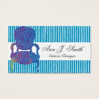 Cartão De Visitas Azul listrado do designer de interiores elegante