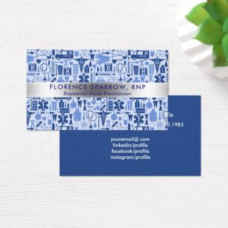 Cartão De Visitas Azul moderno do teste padrão dos cuidados da