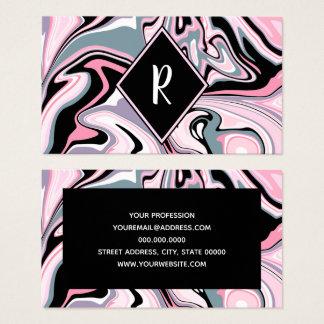 Cartão De Visitas Azul preto roxo cor-de-rosa de mármore colorido