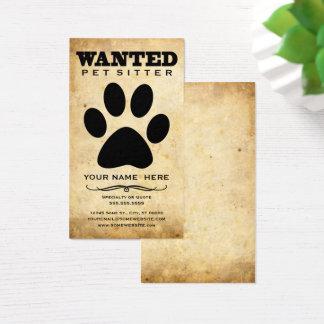 Cartão De Visitas baby-sitter querido do animal de estimação