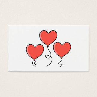 Cartão De Visitas Balões vermelhos do coração