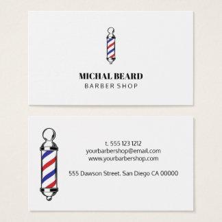Cartão De Visitas Barba mínima do cabelo da barbearia do vermelho