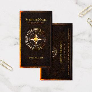 Cartão De Visitas Barco náutico do compasso rústico do ouro do