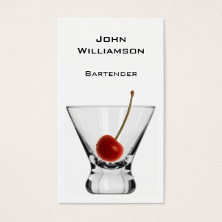 Cartão De Visitas Barman do profissional da cereja do vidro de