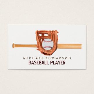 Cartão De Visitas Bastão de beisebol, bola e luva de madeira,