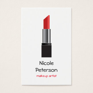 Cartão De Visitas Batom do vermelho do maquilhador