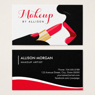 Cartão De Visitas Batom vermelho quente dos lábios do maquilhador