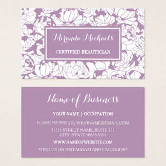 Cartão De Visitas Beautician certificado feminino floral roxo