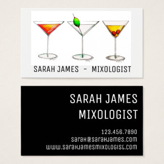 Cartão De Visitas Bebidas de Cosmo Martini do cocktail do barman do
