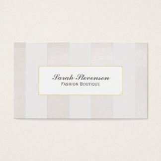 Cartão De Visitas Bege e branco listra o boutique monocromático