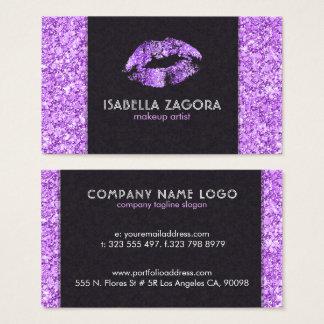 Cartão De Visitas Beijo roxo & brilho roxo