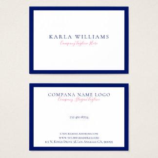 Cartão De Visitas Beira azul marinha de Minimalistic no branco