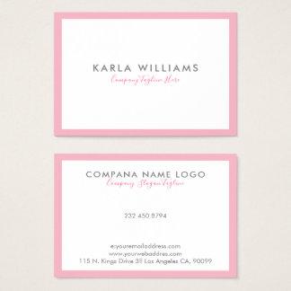 Cartão De Visitas Beira cor-de-rosa de Minimalistic no branco