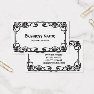 Cartão De Visitas Beira decorativa preta chique retro de Nouveau da