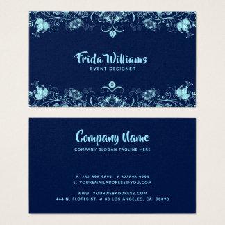Cartão De Visitas Beira elegante das flores dos azul-céu