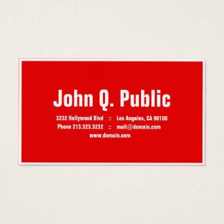 Cartão De Visitas Beira lisa do branco da cor vermelha