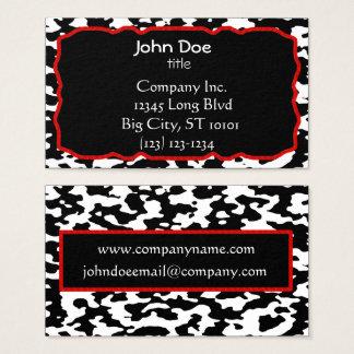 Cartão De Visitas Beira vermelha do impressão da vaca preto e branco