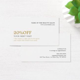 Cartão De Visitas Beleza branca minimalista elegante do vale do ouro