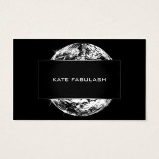 Cartão De Visitas Beleza branca preta do estilista da forma da bola
