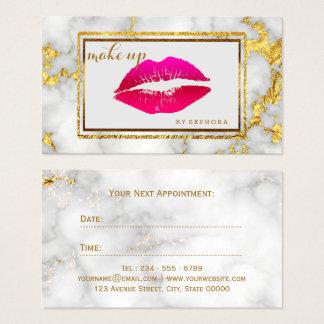 Cartão De Visitas Beleza de mármore dos lábios carmesins corajosos