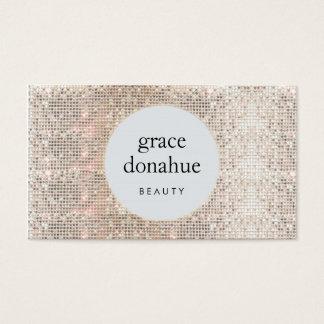Cartão De Visitas Beleza moderna do Sequin da prata do Cosmetologist