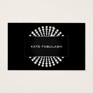 Cartão De Visitas Beleza preta do cabeleireiro do diamante do ouro