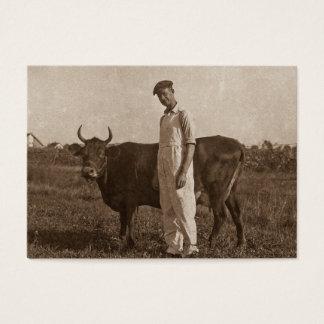 Cartão De Visitas Bessie a vaca e seu fazendeiro