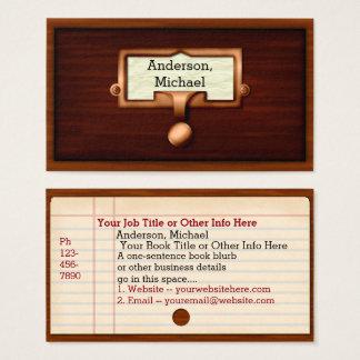 Cartão De Visitas Bibliotecário do autor do escritor do catálogo de