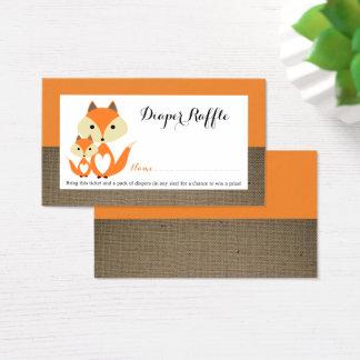 Cartão De Visitas Bilhete alaranjado do Raffle da fralda do chá de