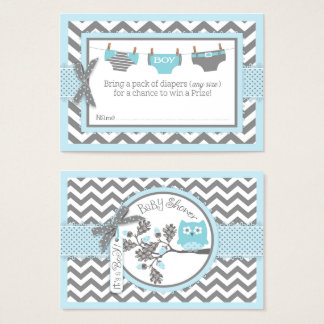 Cartão De Visitas Bilhete azul do Raffle da fralda da coruja de