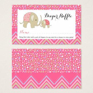 Cartão De Visitas Bilhete boémio cor-de-rosa do Raffle da fralda do