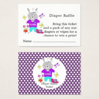 Cartão De Visitas Bilhete bonito do Raffle da fralda do coelho de