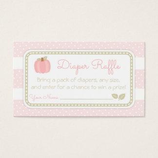 Cartão De Visitas Bilhete cor-de-rosa do Raffle da fralda do chá de