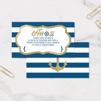 Cartão De Visitas Bilhete do Raffle da fralda, Ahoy, náutico, ouro