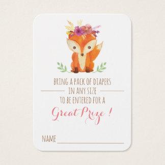 Cartão De Visitas Bilhete do Raffle da fralda da menina do chá de