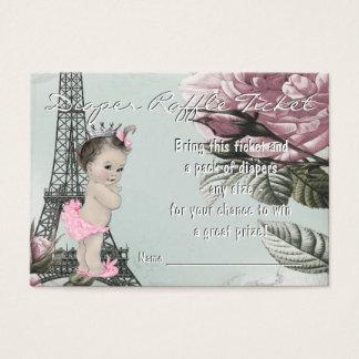Cartão De Visitas Bilhete do Raffle da fralda de Paris do vintage